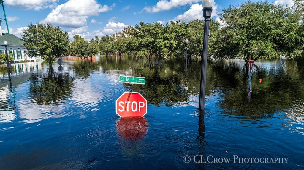 Conway Flooding from Hurricane Florence A stop sign is nearly underwater due to flooding in Conway, SC Photo by CLCrow Photography - Myrtle Beach