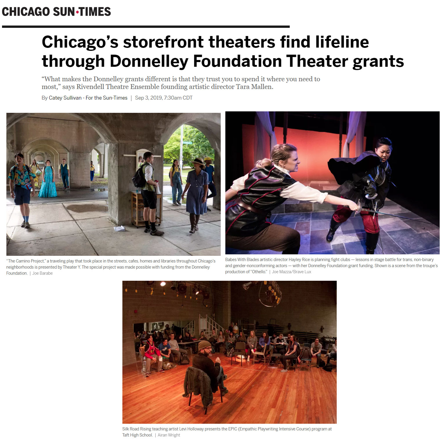 Photos of Theater Y, Babes With Blades, Silk Road Rising in Chicago Sun-Times article