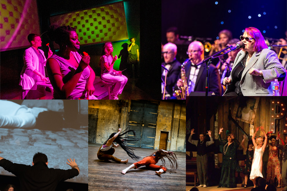 Collage of five arts grantees