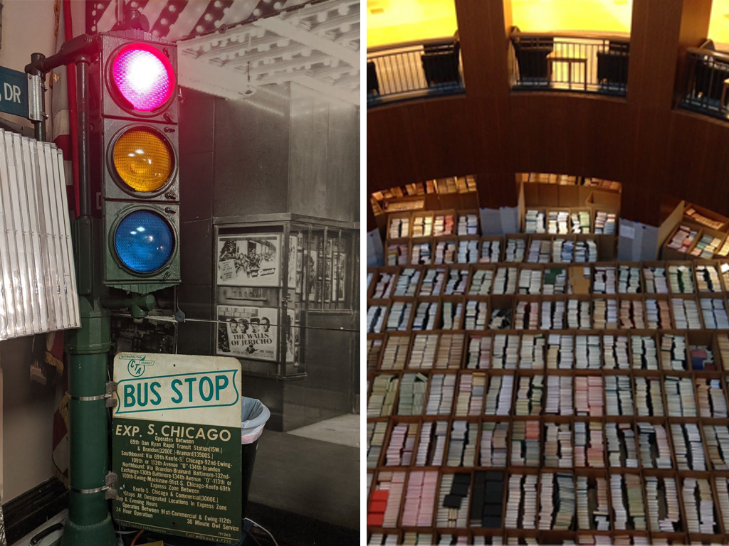 Left: A stop light and CTA bus stop sign from the Southeast Chicago Historical Society Right: The main floor of the Addlestone Library at College of Charleston is filled with books and bookshelves