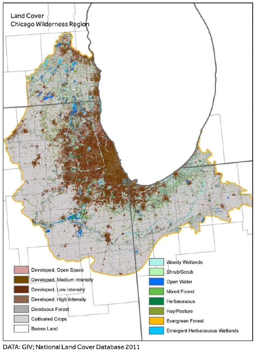 Map of the land area around the southern rim of Lake Michigan. Shades of brown indicate land that is developed. Shades of blue and green depict waterways and protected natural areas.