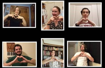 Six young white Fifth House Ensemble students in Zoom like boxes appear smiling and make heart gestures with their hands to the camera.