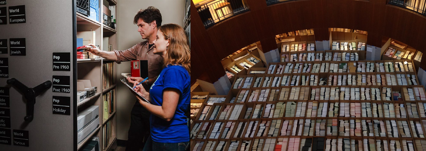 on the left a man and woman look at a shelf of books, recordings, and other archival materials. on the right is bookshelves filling the ground floor of a library building