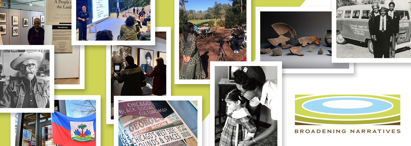 Collage of images from 10 grantee organizations with text Broadening Narratives