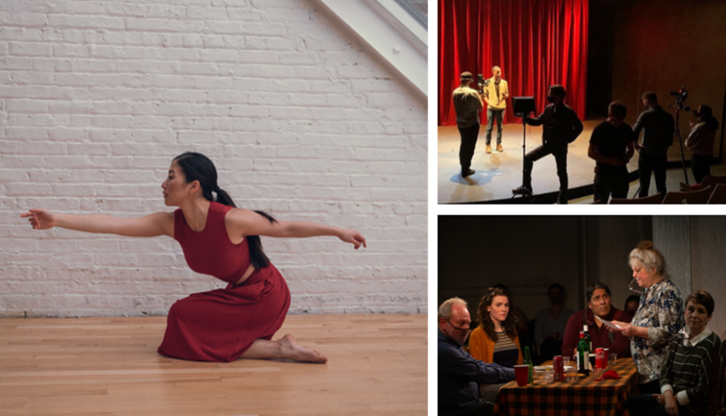 three images - a dancer in red kneeling and reaching forward; an actor in yellow on stage with red curtain backdrop being filmed by 5 people in silhouette; 4 people around a wooden table with 1 woman standing up